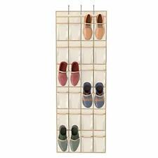Crystal Clear Over The Door Hanging Shoe Organizer, Beige,64'' x 19'',24 Pockets