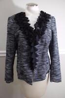 LAFAYETTE 148 black white tweed with ruffle trim jacket size 10 J500