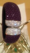 925 Sterling Corolli Purple  Genuine Stingray Leather Cuff Bracelet With CZ