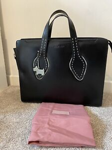 Radley large black leather laptop business bag briefcase light-use immaculate