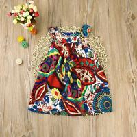 Fashion Toddler Baby Kids Clothes Girls Bohemian Flower Princess Dress Sundress