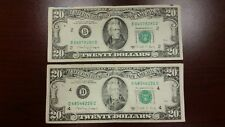 Lot of 2 Two Old $20 US Notes Bills (1988 A) $40.00 Face Value
