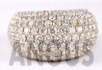 Real 14K Yellow gold 3.49 ct Diamond Round Anniversary Band Engagement Ring