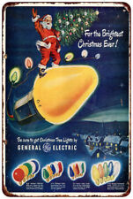 GE Christmas lights AD brightest lights Vintage Reproduction metal sign 8 x 12