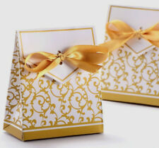 50pcs/lot Gold Wedding Favor Sweet Cake Gift Candy Boxes Bags Anniversary Party