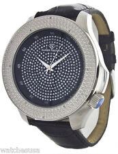 Super Techno l-5328 Men's Diamond Black Dial Leather Band Watch