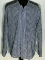Robert Graham Embroidered Blue Diamond Pattern XL Long Sleeve Button-Front Shirt