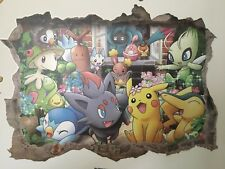 Large Pokemon Wall Sticker 3D Pikachu Park View Mural PVC Decals Kids Room Decor