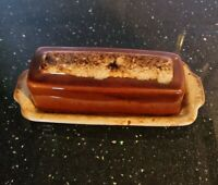 Vintage Hull Pottery Butter Dish Brown Drip Glaze Made In USA  Oven Proof