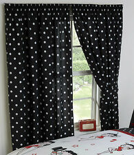 "BETTY BOOP 66"" x 72"" UNLINED CURTAINS BLACK WHITE SPOTS POLKA DOTS TIE BACKS"