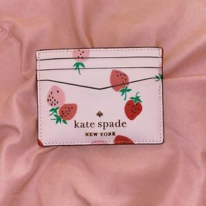 Nwt Kate Spade Staci Wild Strawberries Small Slim Card Holder