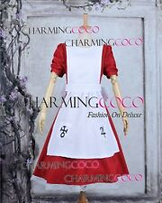 Alice Madness Returns Cosplay Alice Costume Red Dress White Apron Halloween Cute
