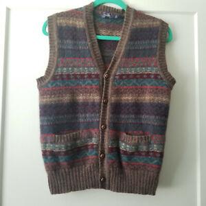 Vintage Carl Michaels L 100% Shetland Wool Sweater Vest Fair Isle Cozy