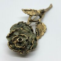 Vintage Fashion Costume Brooch Pin Rose Flower Jade Gold Tone