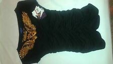 New Dereon Black and Gold Shirt Studded NWT S-XL