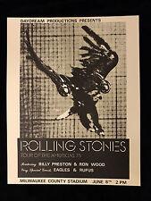 Vintage ROLLING STONES/EAGLES CONCERT  POSTER-1975 TOUR NEAR MINT 2 MINT