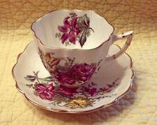 Victoria C & E Bone China England Cup & Saucer Purple Floral Gold Trim Nice Q