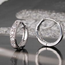 18ct White gold filled beautiful Topaz Huggie earrings hoop White sapphire