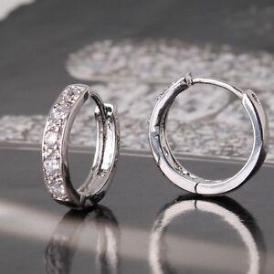 White sapphire 18ct White gold filled beautiful Topaz Huggie earrings hoop