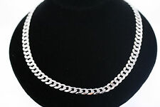 Sterling Silver 24 Inch 8mm Cuban Link Chain Necklace w/ Lobster Clasp