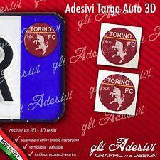 2 Adesivi Stickers bollino 3D Resinato targa Auto Moto TORINO calcio