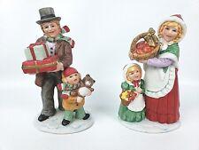 Set of 2 Homco Victorian Family Christmas Figures Ceramic #5554