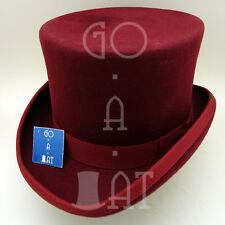 VINTAGE Wool Felt Men Top Hat Tuxedo Gentlemen Victorian Party | 59cm | Burgundy