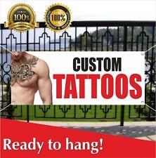 Custom Tattoos Banner Vinyl / Mesh Banner Sign Tattoos Shop Body Art Piercing