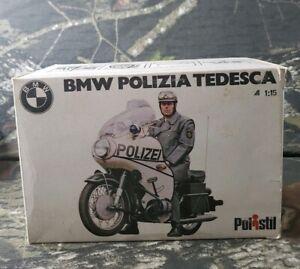 Vtg Polistil I:15 BMW Polizia Tedesca Italian Police Motorcycle/ Box Die Cast B9
