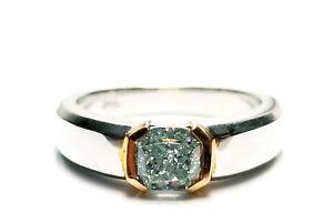 Green Diamond - Men's Unisex Ring 1.29ct Natural Fancy Green GIA 18K Gold