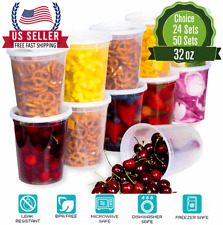 [32oz]-Heavy Duty Deli Plastic Food Storage Containers with Airtight Lids