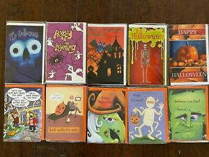 Lot Of 10 Halloween Cards Skeletons Witch Ghost Monsters Pumpkins Humorous #1