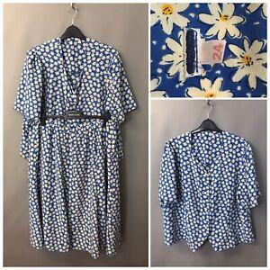 Women's Blue Floral 2 Piece Skirt Blouse Suit UK 24 EUR 52 US 20 XL