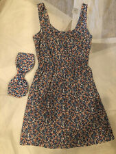 Nordstrom BP Dress Small Blue Red White Floral Matching Bandeau Bra Cut-Out Sun