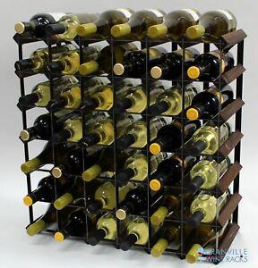 Cranville wine rack storage 42 bottle dark oak stain wood/black metal assembled