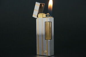 Dunhill Rollagas Lighter RL1573 Silver & Gold plated Working #M95