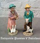 B2016680 - Couple de figurines de 14 cm en biscuit de porcelaine 1950-70