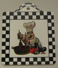 "Fat Chef Ceramic Board / Plaque, Mixing the salad, w/cork back, 8""x 8"""