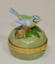 Vintage TAKAHASHI San Francisco Japan Hand Painted BLUE BIRD Round Trinket Box