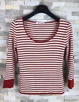 Lk Bennett Ladies Size L Striped Red Viscose Long Sleeve Top