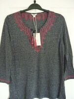 MONSOON SELINA NAVY JERSEY STRIPE EMBROIDERED TOP. UK 14, EUR 42, US 10 BNWT