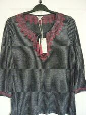 MONSOON SELINA NAVY JERSEY STRIPE EMBROIDERED TOP. UK 16, EUR 44, US 12 BNWT
