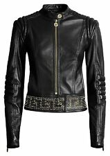 VERSACE For H&M Black Biker Gold Studded Biker Leather Jacket EUR 42 US 12 UK 16