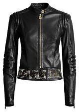 VERSACE For H&M Black Biker Gold Studded Biker Leather Jacket EUR 42 US 12 UK 16