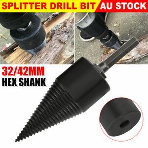 High Speed Twist Firewood Drill Bit Wood Splitter Screw Splitting Cone Driver AU