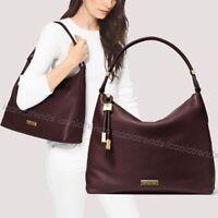 NWT🍇$348 Michael Kors Lexington Large Leather Shoulder Bag Barolo Purple Gold