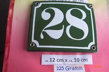 Hausnummer Nr.28 weiße Zahl auf gras grünem Hintergrund 12 cm x 10 cm Emaille
