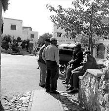 """Q328 Original 1953 Oct. Rollei photo NEGATIVE 2 1/4"""" Capri Italy men talking"""