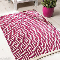 Fair Trade 3 Sizes Diamond Geometric Weave Cotton Handloom Rug Soft Modern 5 Col