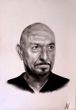 Ben Kingsley - ritratto portrait grafite e carboncino cm. 33 x 48